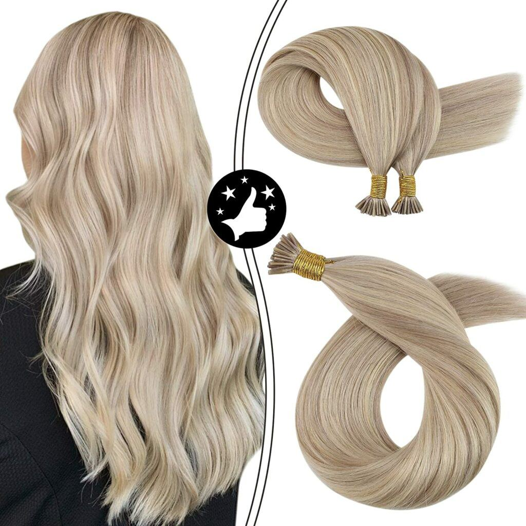 Itip Hair Extensions Fusion Hair Extensions Color Ash Blonde Mixed with Bleach Blonde #18/613 Pre Bonded Stick Tip Human Hair