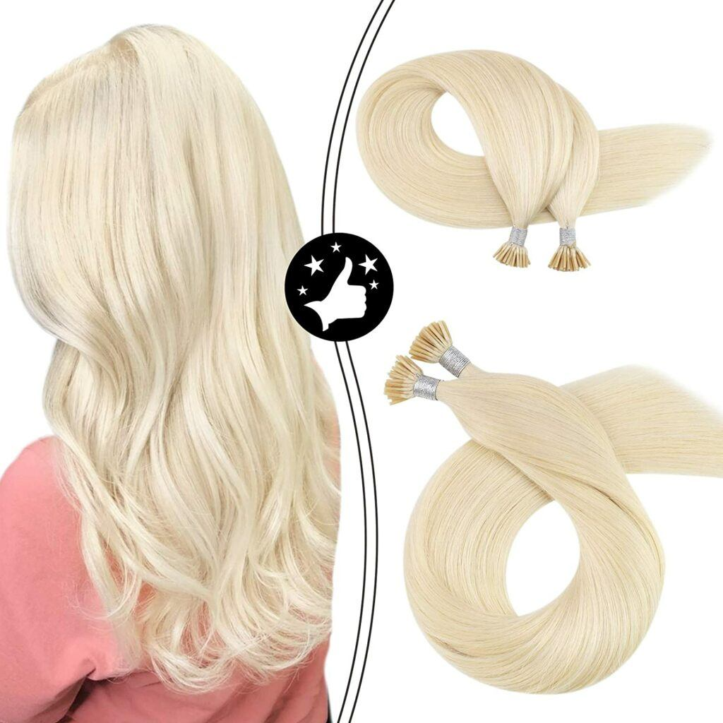 Itip Hair Extensions Fusion Hair Pre Bonded Machine Remy Human Hair Extensions 40g Straight #60 Blonde Keratin Tipped