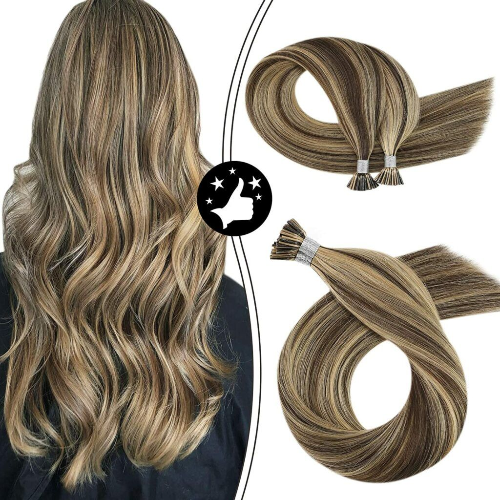 Itip Human Hair Extensions 100% Machine Remy Hair Bonded Hair Extensions Keratin Stick I Tip Hair 40g 50s #P4/27