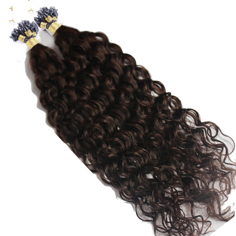 Long 26″ Micro Loop Ring Hair Extensions 1g/strand 100g Micro Bead Link Human Hair Extension Deep Curly Brazilian Remy Hair
