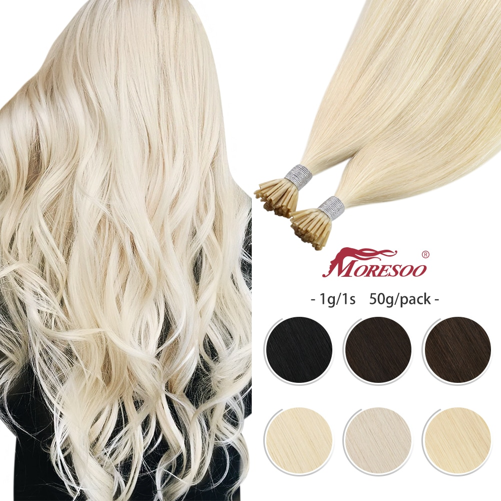 Moresoo 1g/1s 50G/Pack Itip Hair Extensions Real Human Hair Keratin Tip Solid Color Machine Remy Hair Stick Hair Extensions