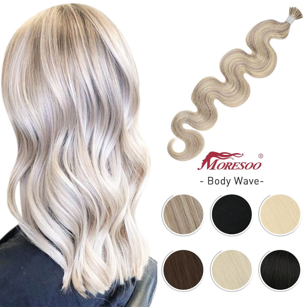 Moresoo Itip Human Hair Extensions Keratin Hair Machine Remy Body Wave Pre-bonded 40G/50S Cold Fusion Real Hair Extensions