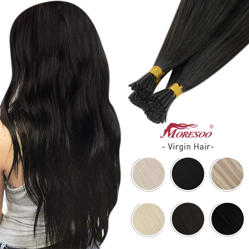 Moresoo Virgin Hair Stick Itip Human Hair Extensions 10A Grade High Quality Brazilian Keratin Fusion Double Drawn I Tip 0.8G/S